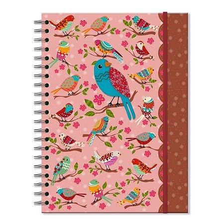 Caderno Universitário Decorado Passarinhos Silvestres
