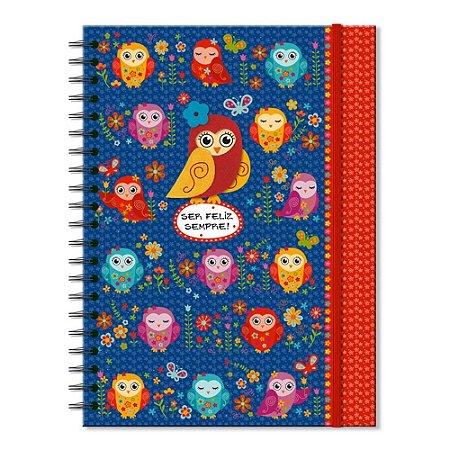 Caderno Universitário Decorado Corujinhas Coloridas 100 folhas