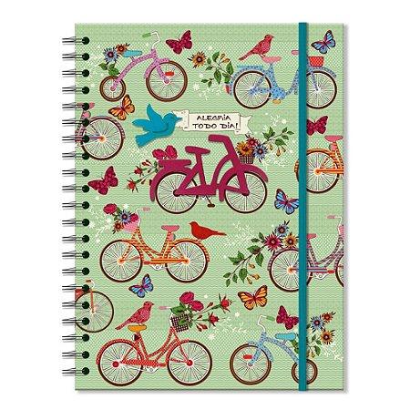 Caderno Universitário Decorado Bicicletas com Aplique 100 folhas