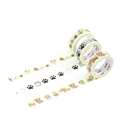 Kit 3 Fitas Adesivas Washi Tape Decorada Pets 5