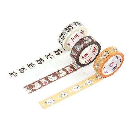 Kit 3 Fitas Adesivas Washi Tape Decorada Pets 1
