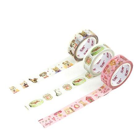 Kit 3 Fitas Adesivas Washi Tape Decorada Dogs 1