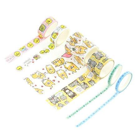 Kit 6 Fitas Adesivas Washi Tape Decorada Dogs & Cats