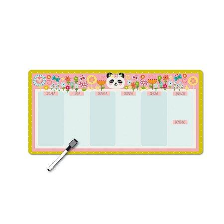 Planner Semanal Panda Magnético Horizontal com Caneta