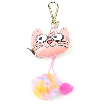 Chaveiro Almofada Miau Gato Rosa
