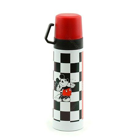 Garrafa Térmica com Xícara Mickey Xadrez 500 ml