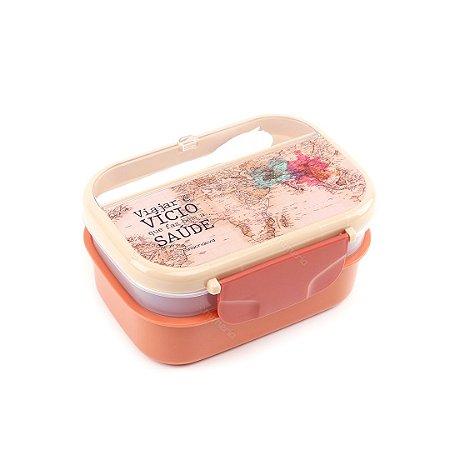 Marmita Lunch Box 2 Compartimentos com Talher Viagem