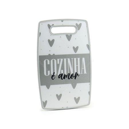 Tábua de Corte Plástico Cozinha é Amor Cinza