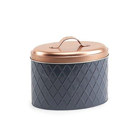 Lata de Metal para Biscoitos Home Cinza e Bronze