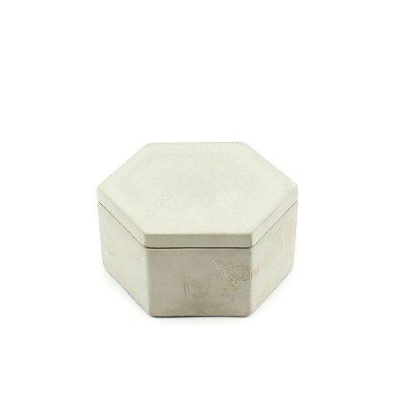 Pote Decorativo em Cimento Hexágono Cinza Claro Pequeno