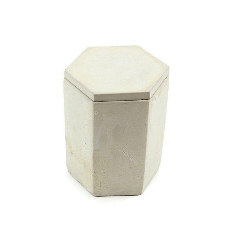 Pote Decorativo em Cimento Hexágono Cinza Claro Grande
