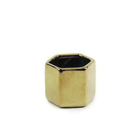 Cachepô em Cerâmica Hexagono Dourado