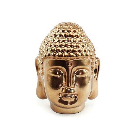 Cabeça de Buda Decorativo em Cerâmica Cobre