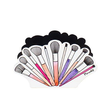 Porta-Maquiagem em Aço Duplo para Pincéis Beauty
