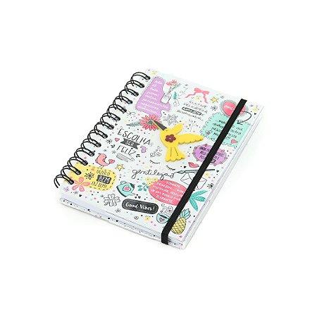 Caderno Médio Decorado com Aplique Beija-Flor
