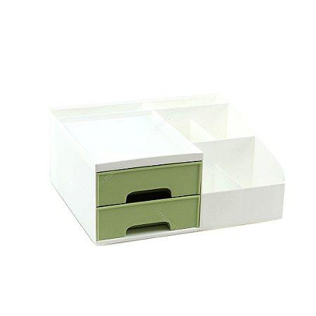 Organizador Multiuso com 2 Gavetas Pequeno Branco e Verde