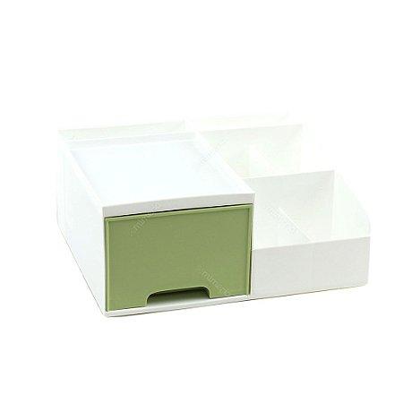 Organizador Multiuso com 1 Gaveta Pequeno Branco e Verde