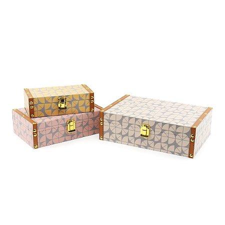 Conjunto 3 Caixas com Fecho Geométricos Coloridos