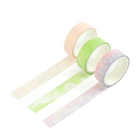 Kit 3 Fitas Adesivas Washi Tape Decoradas Coloridas Pastel Sortidas 4