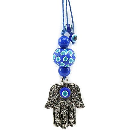 Chaveiro Hamsa de Metal Azul