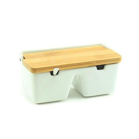 Porta-Temperos de Mesa em Cerâmica e Madeira Bianco