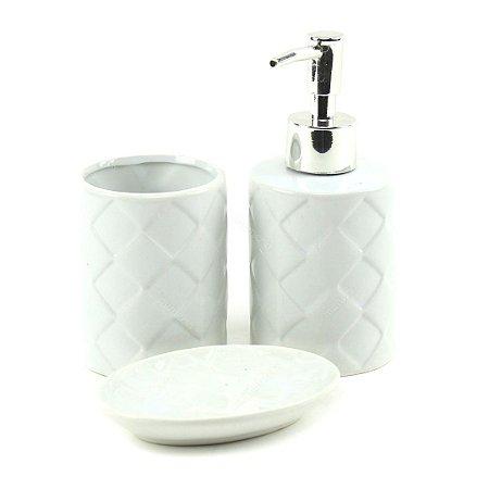 Kit de Banheiro em Cerâmica Branco Toulon 3 Peças