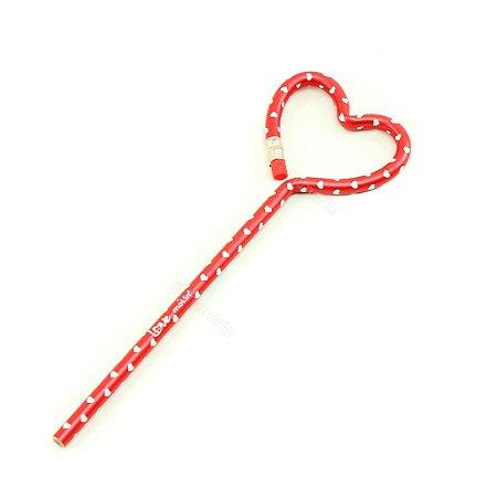 Lápis Face Coração Love Coração Vermelho
