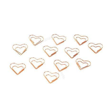 Clipes de Papel Coração Rose Gold com 12 Unidades
