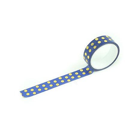 Fita Adesiva Washi Tape Love Poá Azul e Dourado