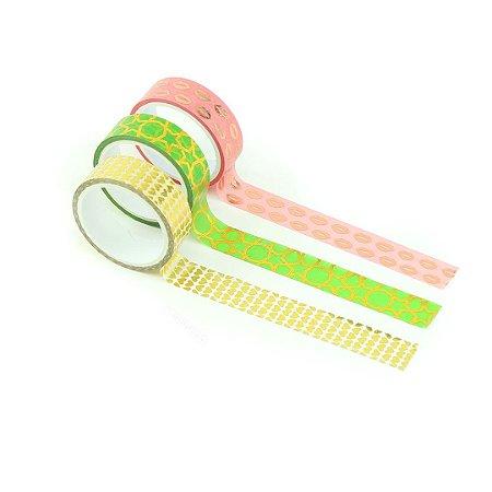 Kit Fitas Adesivas Washi Tape Love com 3 Unidades Corações Dourados