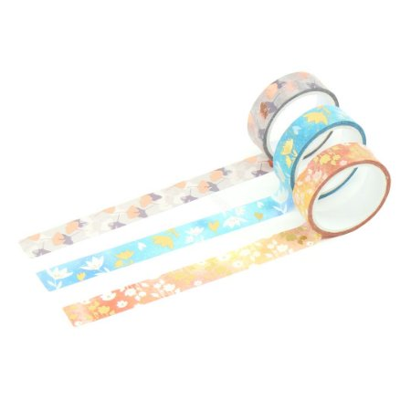 Kit Fita Adesiva Washi Tape Love com 3 Unidades Flores