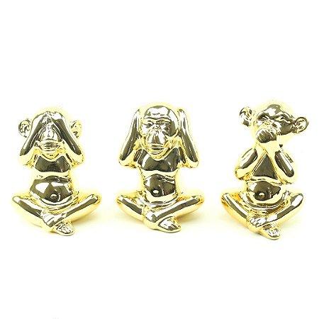 Kit Macaco Decorativo em Cerâmica Não Fala, Não Ouve, Não Vê Dourado