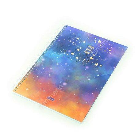 Caderno Universitário 80 Folhas Tie Die Azul Universo