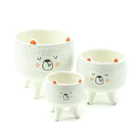 Kit 3 Cachepôs de Cerâmica com Pés Urso