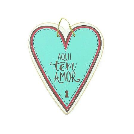 Placa Tag Coração Aqui Tem Amor
