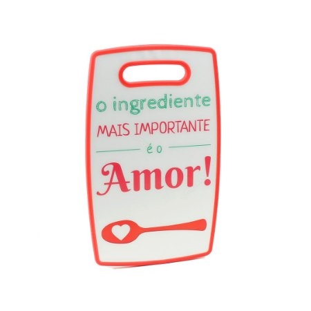 Tábua de Corte de Plástico Ingrediente Amor Vermelha