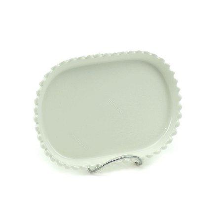 Mini Prato de Cerâmica Arredondado Bolinhas Branco
