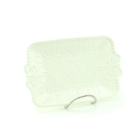 Mini Bandeja de Cerâmica Retangular Laço Branco