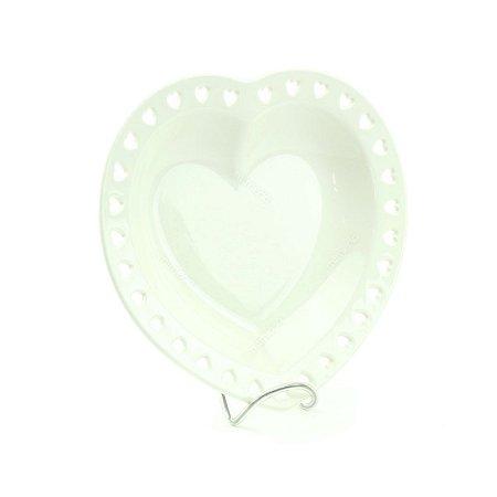 Prato de Cerâmica Coração Vazado Branco