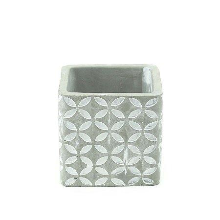 Vaso de Cimento Quadrado Decorado Florzinha