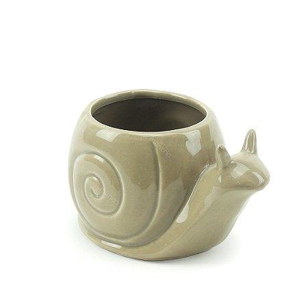 Vaso de Cerâmica Caracol Cinza