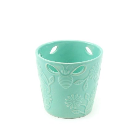 Vaso de Cerâmica Vazado Abelha e Flor Verde