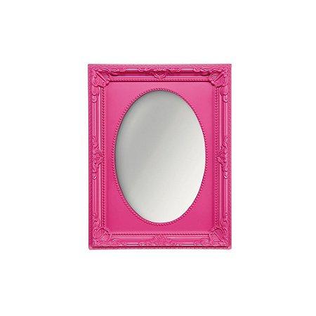 Espelho Vintage Oval Rosa 13x18