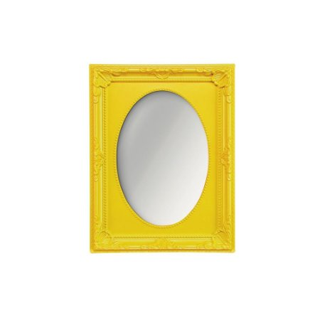 Espelho Vintage Oval Amarelo 13x18