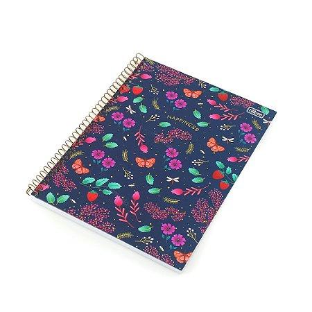 Caderno Universitário Le Vanille Floral Azul 80 Folhas