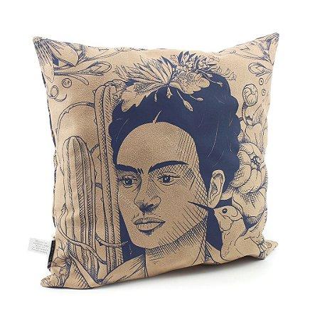 Capa de Almofada Frida Kahlo Cacto e Flor Bege