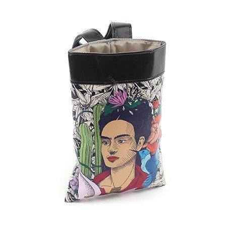 Lixeira de Carro Estampada Frida Kahlo Cacto e Flor