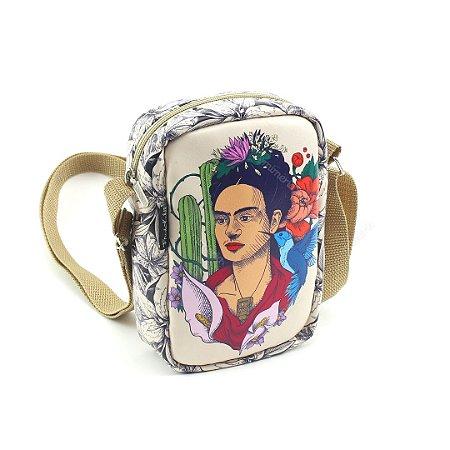 Bolsa Transversal Pequena Frida Kahlo Cacto e Flor