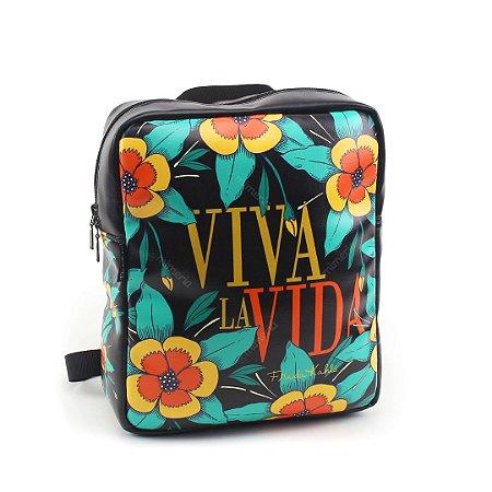 Bolsa Mochila Estampada Frida Kahlo Viva La Vida