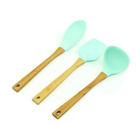 Kit de Utensílios de Silicone e Bambu Candy Color 3 Peças Verde